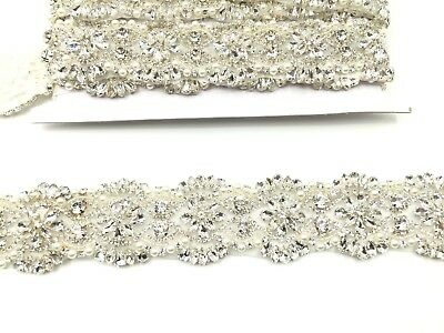 Diamante Bridal Belt Wedding Dress Sash Diamante Belt Applique Trim Beaded Pearl