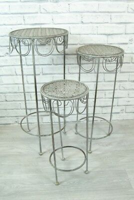 Tall Tables Planter Stand Metal Round Grey