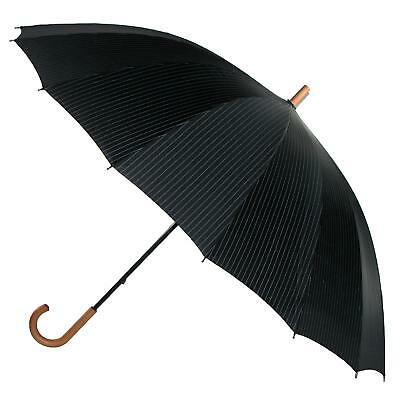 New Leighton 60 Inch Wood Handle Pin Stripe Print Doorman Umbrella
