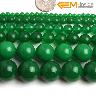 "4-18mm Round Green Jade Stone Beads For Jewellery Making Loose Beads Strand15""CA"