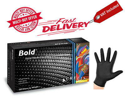 x1 CASE, DISPOSABLE, AURELIA BOLD STRONG BLACK NITRILE GLOVES, LATEX FREE