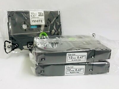 3-PACK Genuine Brother TZe-231 P-Touch Laminated Tape Black On White