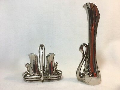 Four Piece Silverplated Matching Swan Salt & Pepper, Carrier and Bud Vase