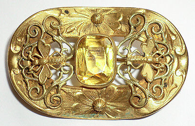 Vintage Antique Victorian Sash Pin Gold Brass Yellow Stone Bees Bugs Wasps Wing.