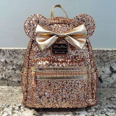 Disney Parks Disneyland Loungefly Rose Gold Ears Sequin Minnie Mini Backpack
