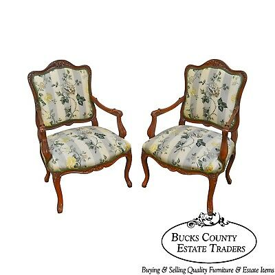 French Louis XV Style Custom Pair of Carved Oak Frame Fauteuils Arm Chairs
