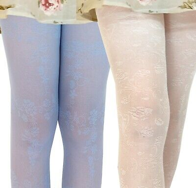 Girls Occasion Tights 30 Denier Flower Roses Bridesmaid Communion Age 3-10