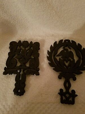 Wilton Vintage Iron Cooking Cast Trivet Lot Dutch 1950 Footed Black Heart Heat