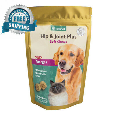 NaturVet Hip & Joint Supplement for Dogs Cats, Contains Glucosamine,...