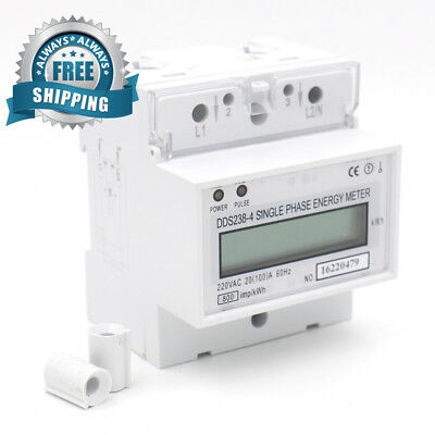 Baomain Single Phase DIN-rail Type Kilowatt Hour kwh Meter 220V 60Hz 20 (100)A