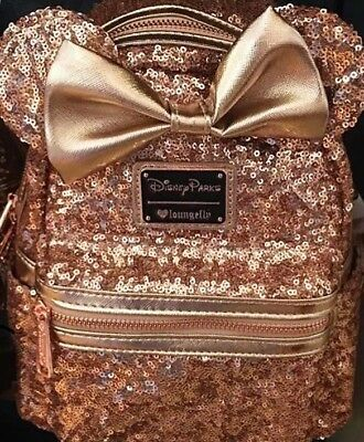 c954b88b53 DISNEY PARKS MINNIE Mouse Rose Gold Loungefly Sequin Bling Backpack ...