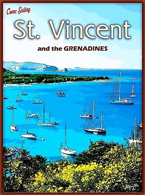 Come Sail St. Vincent and the Grenadines Caribbean Travel Decor Art Poster Print