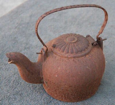 Antique Old Steel Iron Rusty Tea Water Pot From an Estate Sarasota Spout Heavy