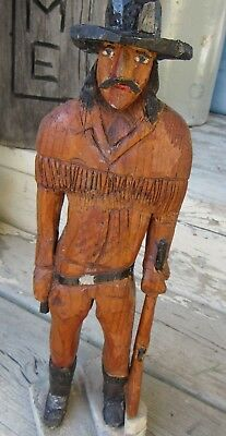 Vintage Hand Carved Wooden Rare Mountain Man Muzzle Loader Rifle Folk Art Statue