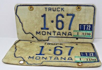 1971 Montana License Plate Pair Truck Matching Set Hard To Find Low Number