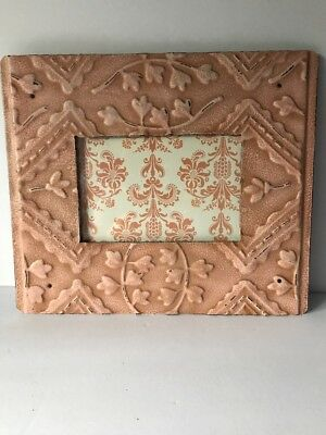 Peach Colored Metal Picture Frame Holds 4x6 Photo