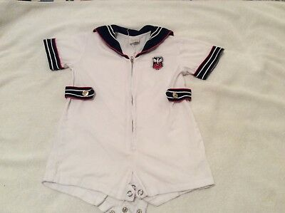 Vintage Boys 24 Months White Sailor Outfit