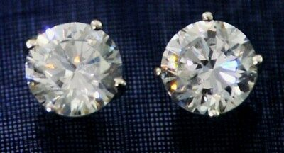 3.5 ct tw Brilliant Princess Earrings Top AAAA CZ Moissanite Simulant Solid SS