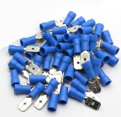 100x Blue Male Electrical Spade Connector Fully Insulated Crimp Terminal 6.3mm