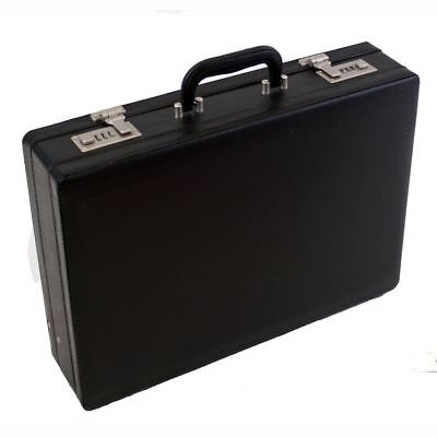 Professional Leather Look Executive Black Briefcase with Combination Locks