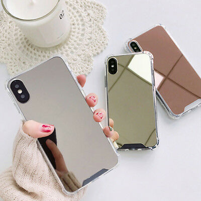 Ultra Slim Mirror Back Clear Shockproof Bumper Case Cover For Phone X 8 7 6 Plus