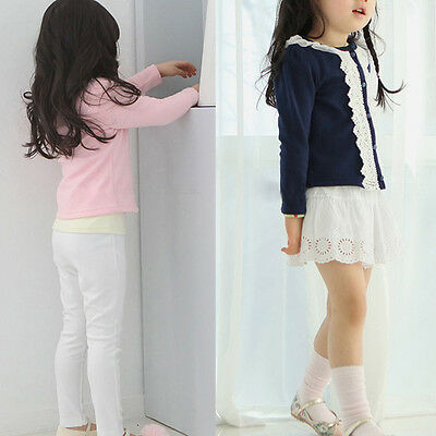 New Cardigan jacket Girls Kids Princess Lace Coat Long Sleeve Outwear Clothes AO