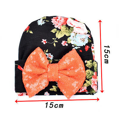 Newborn Baby Infant Girl Toddler Cotton Bowknot Floral Hospital Caps Beanie Hats