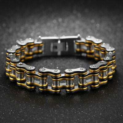 Gold Silver Biker 316L Stainless Steel Men's Motorcycle Chain Bracelet 15mm 8''