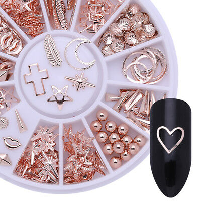 Rose Gold 3D Nail Art Decorations Starfish Shell Manicure in Wheel Nail Tips