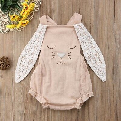Cute Toddler Rabbit Baby Girl Romper Bodysuit Summer Outfit Sunsuit Clothes