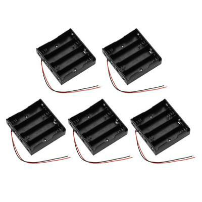 5x Plastic Battery Case Holder Storage Box For 4 x 18650 Batteries & Wire Black