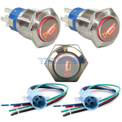 12V 16mm LED Lighted Momentary Metal Push Button Air Horn Switch Bell Car BoatUS
