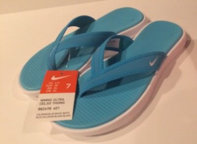 4bd276292b8c New Womens Nike Size 7 Ultra Celso Thong Sandals Chlorine Blue white Flip  Flops