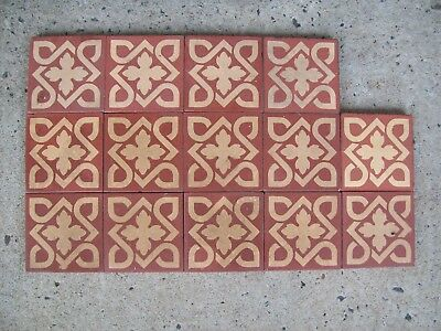 VINTAGE ENCAUSTIC FLOOR TILES (14 Pieces )