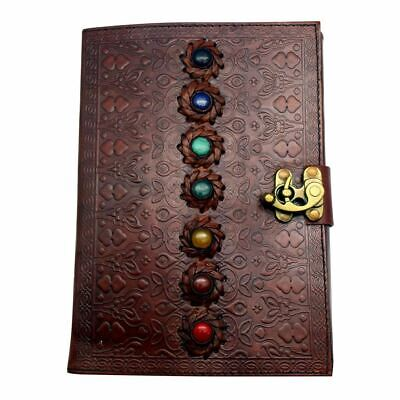 Large Chakra Stones Leather Journal -  Writing Notebook, Diary & Sketchpad