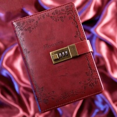 B6 Red Rose Leather Journal Blank Diary Book Notebook Vintage Combination Lock