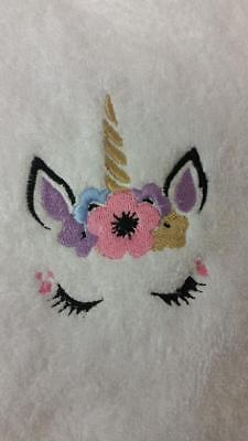 UNICORN 1 and Personalised Name Embroidered on Towels Bath Robes Hooded Towel