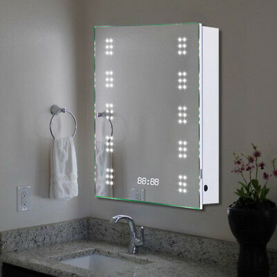 led illuminated bathroom mirror cabinet demister sensor toothbrush