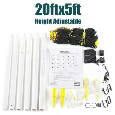20x5ft Portable Height Adjustable Badminton Tennis Volleyball Net Stand