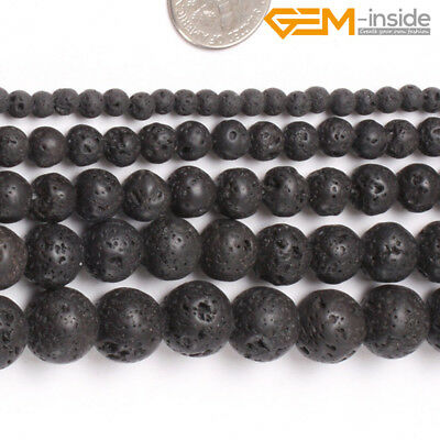 """Natural Spong Round Black Lava Rock Stone Beads For Jewellery Making Strand 15""""C"""