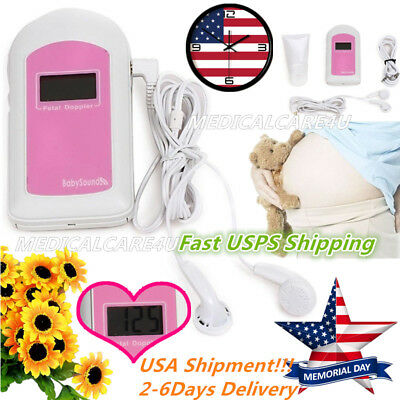 Hot Sale,Baby Sound LCD Pocket Fetal Doppler Prenatal Heart Rate Monitor+GeL,USA