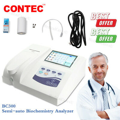 BC300 Semi-auto Biochemistry Analyzer analyzing blood body fluid Printer 7'' LCD
