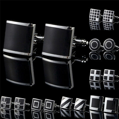 Black Stainless Steel Mens Cufflinks Shirt Cuff Links Wedding Party Gift LE