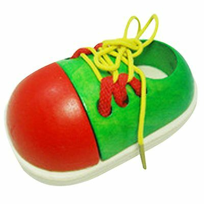1pcs Toddler Baby Kid Wooden Lacing Shoe Toy Montessori Early Educational Toy AO