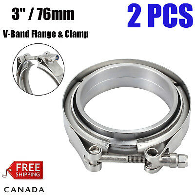 2X 3.0'' Inch V-Band Flange & Clamp Kit For Turbo Exhaust Downpipes Mild Steel