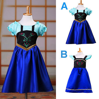 Kids Girls Frozen Anna Princess Cosplay Costume Party Formal Fancy Long Dresses