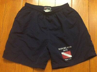 Xelos Men's Navy Blue Ridgeland Dive Rescue Swim Trunks Size Medium Hand Made CA