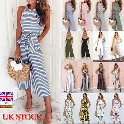 UK Womens Summer Striped Jumpsuit  Ladies Holiday Wide Leg Long Playsuit Romper