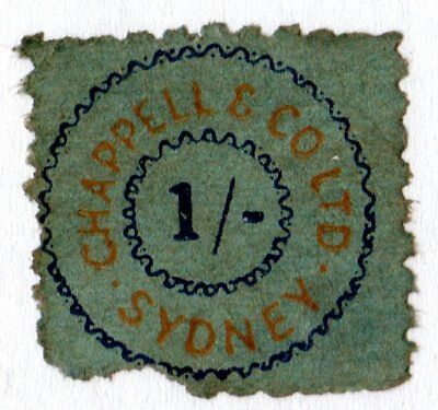 Chappell & Co one shilling 1/- royalty tax revenue stamp from Pianola roll