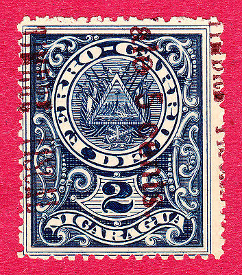 Nicaragua Stamps. 1911 2nd Class Rail Surcharge 05c on 5c. SG320. MH. #3421